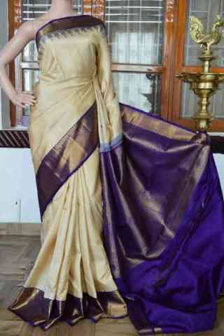Delightful cream n Blue  Soft Silk Saree - cnd820  30""