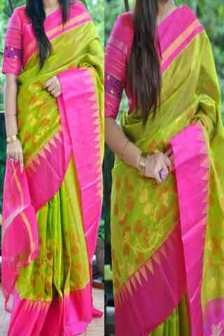 Blooming Green n Pink Color Soft Silk Saree - cnd841  30""