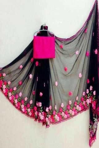 """Fantastic Black Georgette Embroidered Designer Saree 30"""""""
