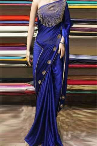 "Innovative Blue Color Silk Georgette Stone work Party Wear Saree  30"""