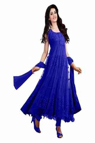 "Beautiful Blue Color Brasso Net Fabric Unstitched Anarkali Style Suit  30"""