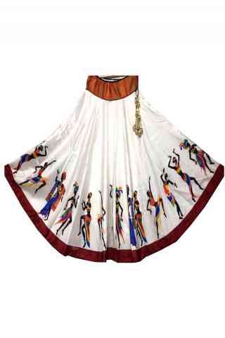 Innovative White Color Satin Silk Printed Free Size Lehenga - CG101  30""