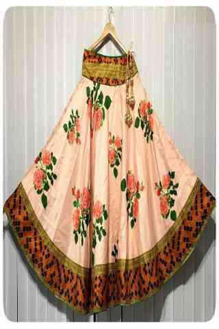 Forever Multi Color Satin Silk Printed Free Size Lehenga - CG110  30""