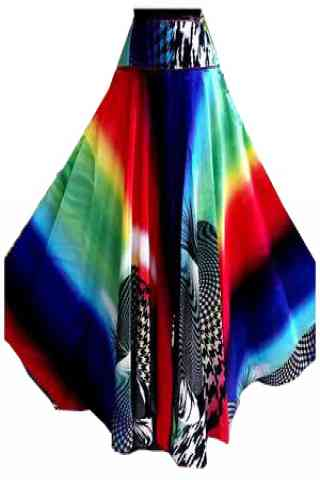 """Exquisite Multi Color Satin Silk Printed Free Size Lehenga - CG144 30"""""""