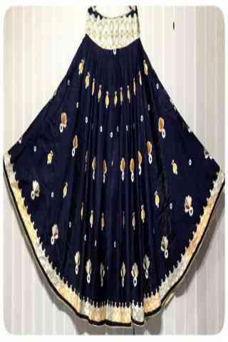 "Charming Blue Color Satin Silk Printed Free Size Lehenga - CG145 30"""
