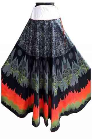 "Glammrous Multi Color Satin Silk Printed Free Size Lehenga - CG146 30"""