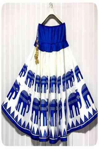 "Latest White N Blue Color Satin Silk Printed Free Size Lehenga - CG147 30"""