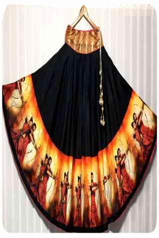 "Admirable Black Color Satin Silk Printed Free Size Lehenga - CG149 30"""