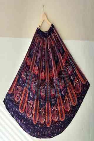 """Blooming Multi Color Satin Silk Printed Free Size Lehenga - CG150 30"""""""