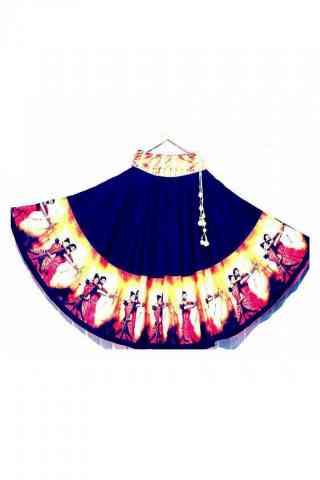 "Epitome Blue Color Satin Silk Printed Free Size Lehenga - CG151 30"""