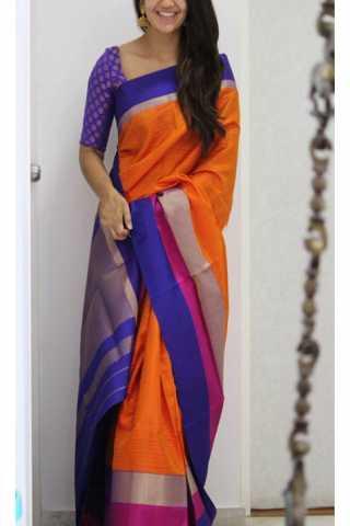 "Enriching Orange Color Soft Silk Designer Sarees - CND1198  30"""