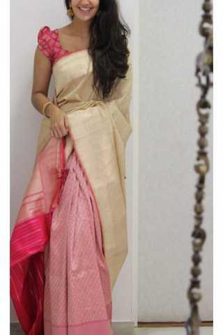 "Classic Cream Color Soft Silk Designer Sarees - CND1267  30"""