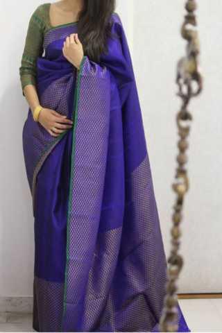"""Divine Blue Color Soft Silk Designer Sarees - CND1293  30"""""""