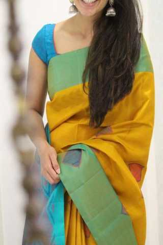 "Modish Yellow Color Soft Silk Designer Sarees - CND1303  30"""
