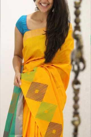"Royal Yellow Color Soft Silk Designer Sarees - CND1321  30"""
