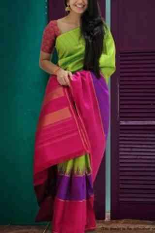 """Elegent Multi Color Soft Silk Designer Wear Saree - Cnd575  30"""""""