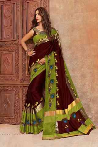 """Fabulous Brown Color Cotton Silk Embroidered Sarees with Blouse 30"""""""