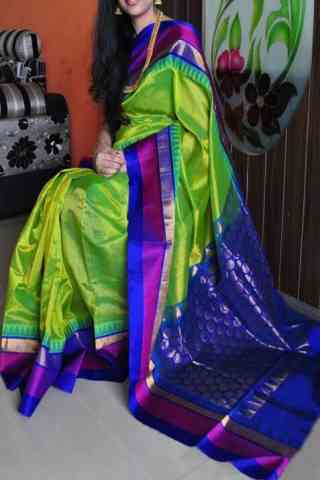 "Dashing  Green n Blue Color Soft Silk Designer Sarees - cnd711 30"""