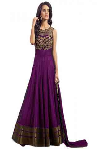 """Remarkable Purple Colored Net Fabric Designer Gown For Women  30"""""""