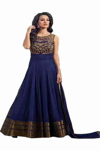"""Charming Blue Colored Net Fabric Designer Gown For Women  30"""""""