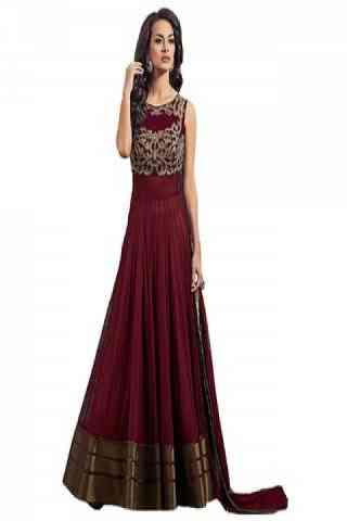 """Ultimate Maroon Colored Net Fabric Designer Gown For Women  30"""""""
