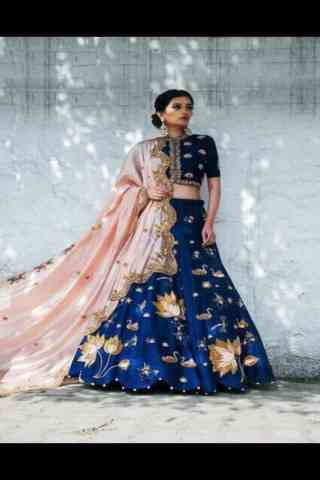 "Fashionable Blue Color Embroidered Lehenga Choli For Women 30"""