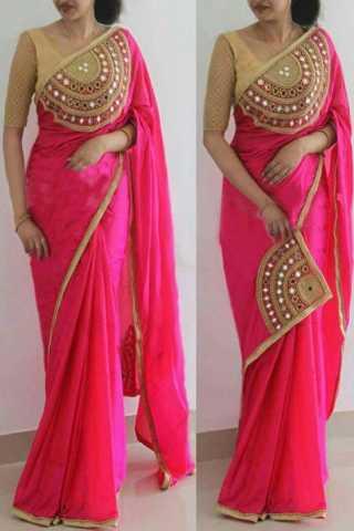 """Modern Pink Paper Silk Fabric Hand work Designer Saree  30"""""""