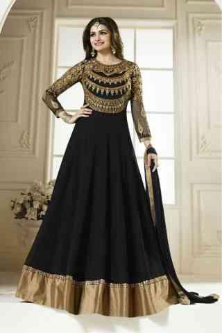 "Black Color Georgette Fabric Anarkali Style Salwar Suit  30"""
