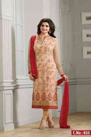 """Admirable Beige Color Georgette Fabric Embroidered Semi- stitched Salwar Suit   30"""""""