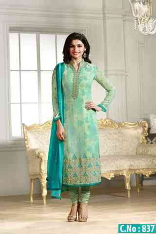 """Pleasurable Green Color Georgette Fabric Embroidered Semi- stitched Salwar Suit   30"""""""