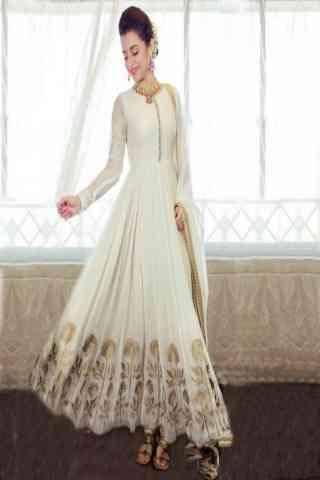 "Delightful White Color Georgette Fabric Anarkali Style Salwar Suit  30"""
