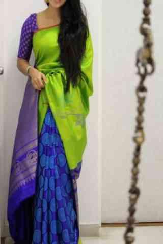 "Engrossing Green And Blue  Color Soft Silk Designer Sarees - cnd1009  30"""