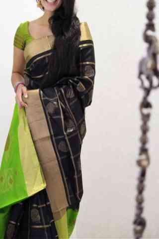 "Engrossing Black Color Soft Silk Designer Sarees - cnd1010  30"""