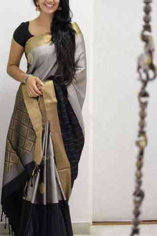 "Refreshing Grey And Black Color Soft Silk Designer Sarees - cnd1033 30"""