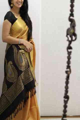 "Modish Yellow Color Soft Silk Designer Sarees - cnd1039 30"""