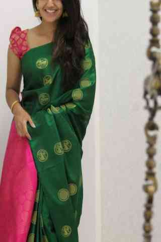 """Elegance Green Color Soft Silk Designer Sarees - cnd1060  30"""""""
