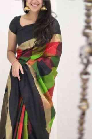 "Classic Multi Color Soft Silk Saree - cnd1083  30"""