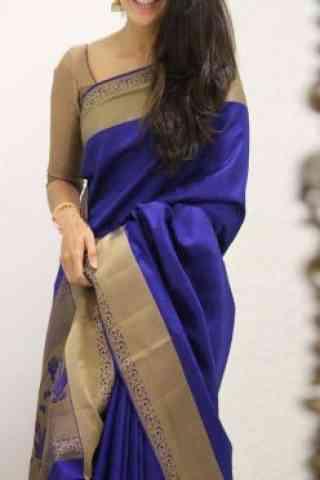 "Admirable Blue  Color Soft Silk Saree - cnd1094  30"""