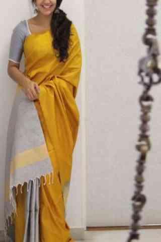 "Fashionable Yellow Color Soft Silk Designer Wear Saree - cnd1106  30"""