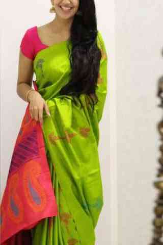 """Outstanding Green Color Soft Silk Saree - cnd1108  30"""""""