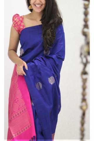 "Exquisite  Blue Color Soft Silk Designer Sarees - cnd1134  30"""