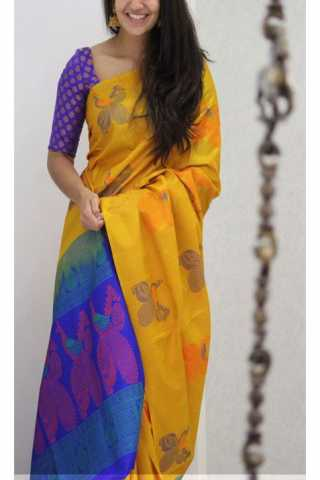 Unique Yellow  Color Soft Silk Saree - cnd1153  30""