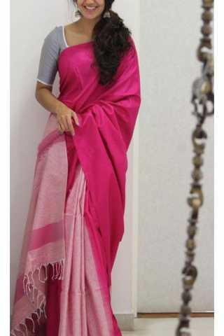 "Unique Pink Color Soft Silk Saree - cnd1166  30"""