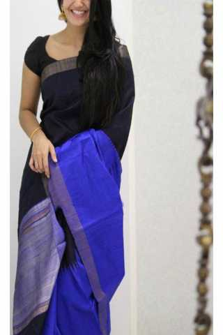 Unique Black N Blue Color Soft Silk Saree - cnd1176  30""