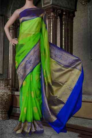 Glorious Green Soft Silk Saree - cnd587  30""