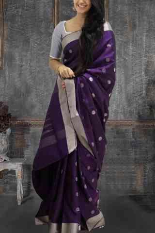 "Glammrous Violet Color Pattern Soft Silk Saree - cnd619  30"""