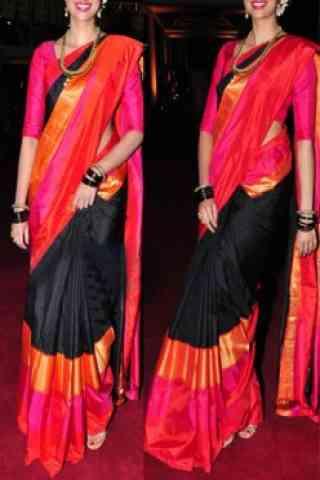 "Engrossing Black Color Soft Silk Designer Sarees - cnd624 30"""