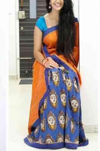 """Alluring Orange n Blue Color Soft Silk Designer Sarees - cnd674  30"""""""