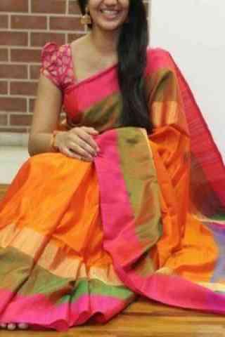 """Stylish Orange Soft Silk Designer Sarees-cnd690 30"""""""