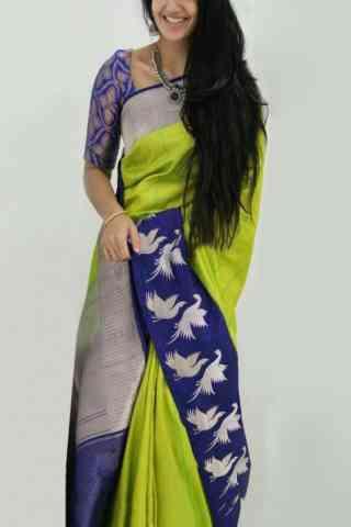 "Charming Green And Blue Color Soft Silk Designer Sarees - cnd898 30"""